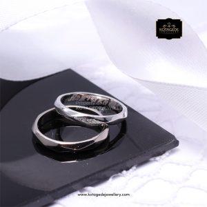 Cincin Kawin Tunangan Couple Unik Platinum Emas Putih PT0143WG