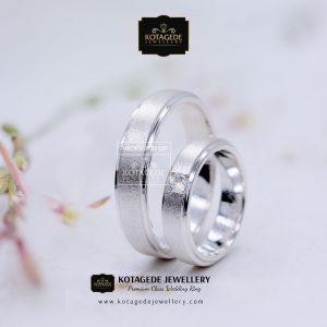 Cincin Kawin Tunangan Doff Palladium Emas Putih PD0129WG