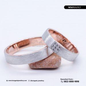 Cincin Kawin Tunangan Doff Rose Gold Couple RG0224RG