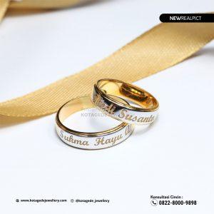 Cincin Kawin Tunangan Emas Kuning Laser Elegant YG0208YG