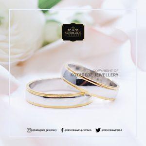 Cincin Kawin Tunangan Emas Putih Couple Elegant WG0120WG