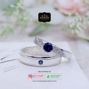 Cincin Kawin Tunangan Palladium Emas Putih Blue Shafir PD0065WG