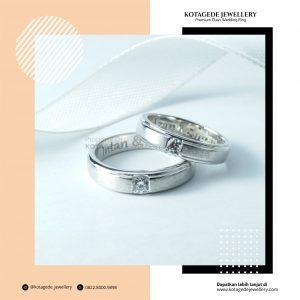 Cincin Kawin Tunangan Palladium Emas Putih Couple PD0246WG