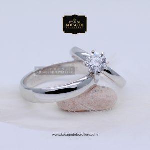 Cincin Kawin Tunangan Palladium Emas Putih Elegant PD0072WG
