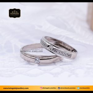 Cincin Kawin Tunangan Palladium Emas Putih PD0067WG