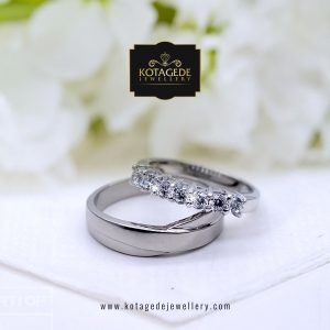 Cincin Kawin Tunangan Palladium Emas Putih PD0116WG