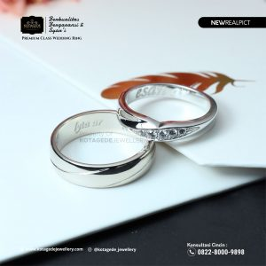 Cincin Kawin Tunangan Palladium Emas Putih Premium PD0218WG