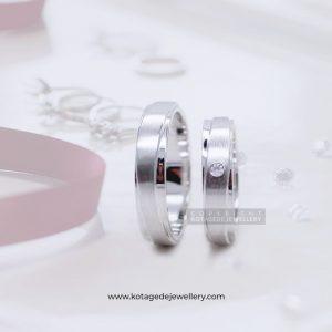 Cincin Kawin Tunangan Palladium Emas Putih Simple PD0075WG