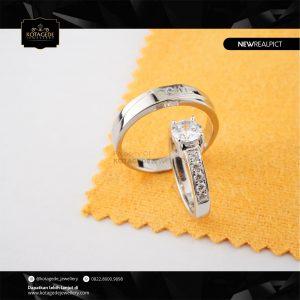 Cincin Kawin Tunangan Palladium Emas Putih Standar PD0233WG