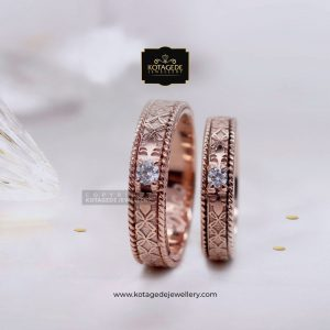 Cincin Kawin Tunangan Palladium Emas Rose Gold Elegant PD0059RG