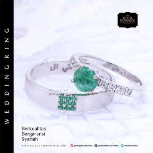 Cincin Kawin Tunangan Palladium Emerald PD0045PD