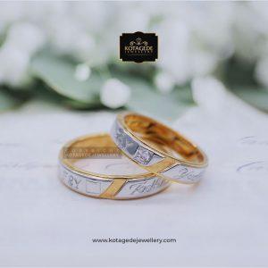 Cincin Kawin Tunangan Palladium Rose Gold Hiasan Inisial PD0085RG