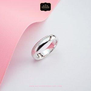 Cincin Kawin Tunangan Simpel Elegan Emas Putih WG0306