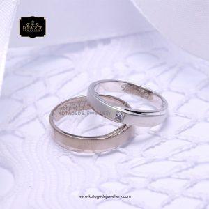 Cincin Kawin Tunangan Simple Palladium Emas Putih PD0138WG