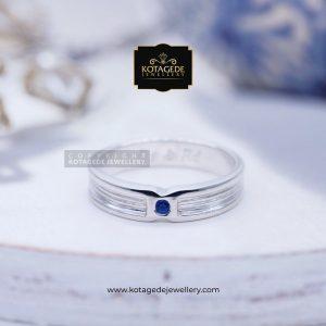 Cincin Palladium Pria Simple Blue Safir PD0096